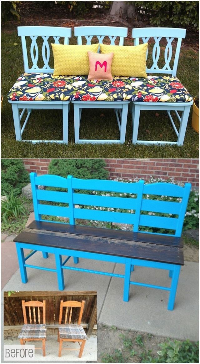 Скамья из стульев в саду