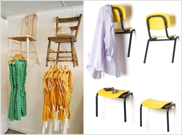 Подвесные стулья в качестве крючков для одежды