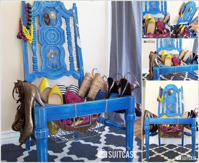 Стул в качестве места для хранения обуви
