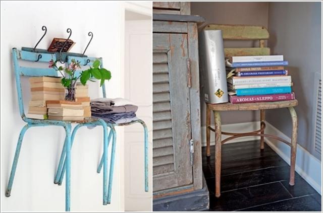 Подвесной стул в качестве полки для книг
