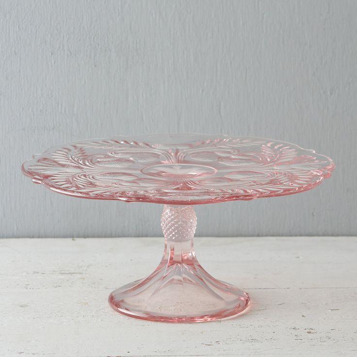 Розовая стеклянную подставка с выпуклым рисунком