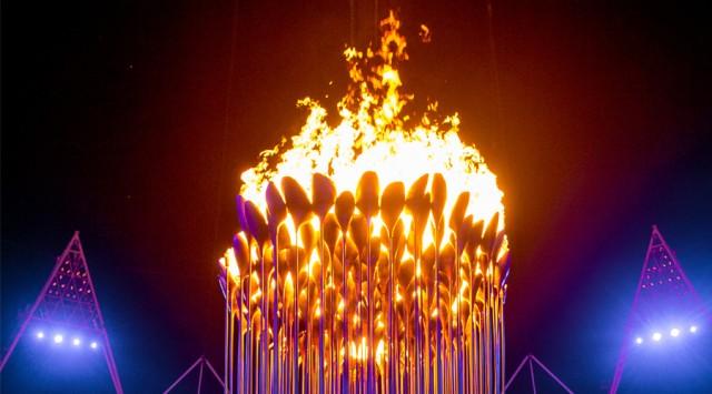 Превосходная световая инсталяция на Олимпийских играх от Томаса Хезервика