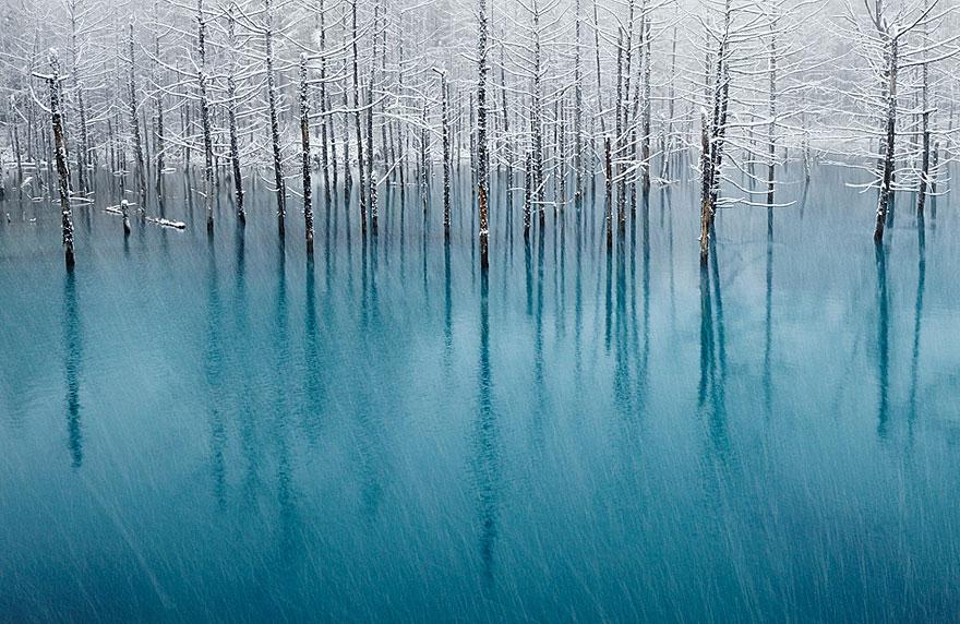 Голубой пруд в Японии