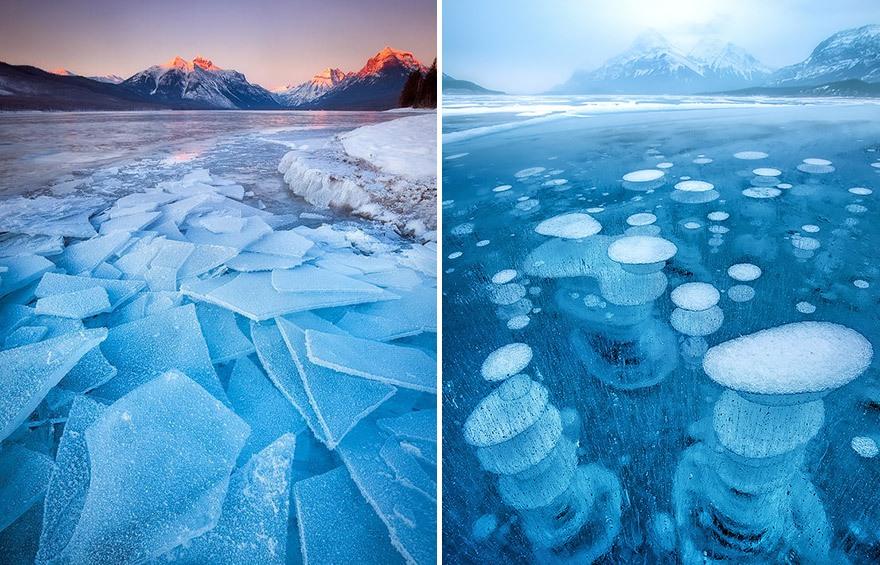 Озеро McDonald, штат Монтана в США и озеро Abraham в Канаде