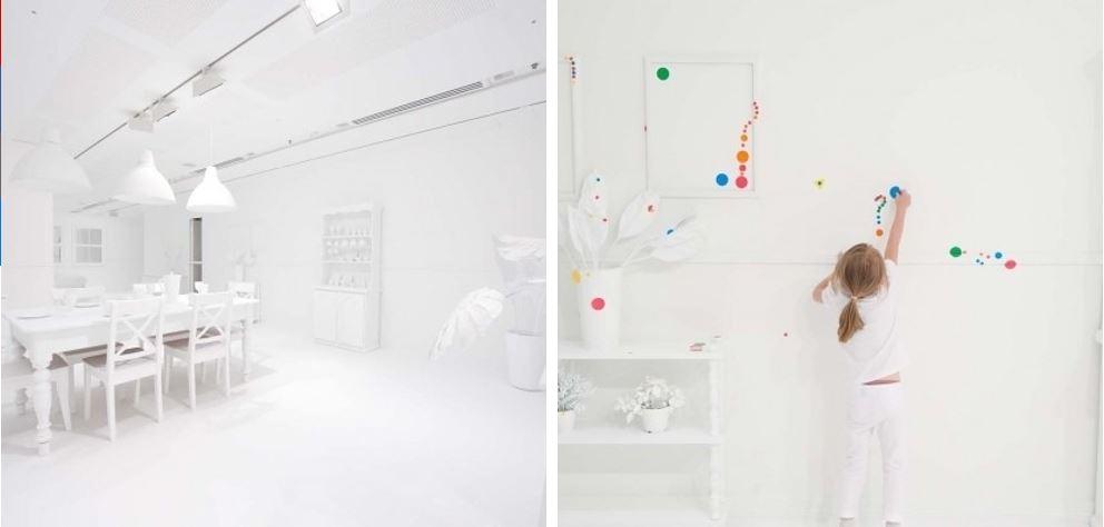 Белое отображения кухонной зоны в инсталляции