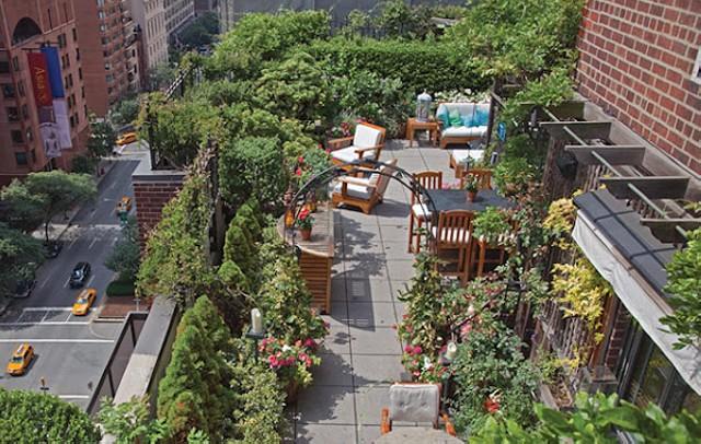 Сад на крыше и места для отдыха