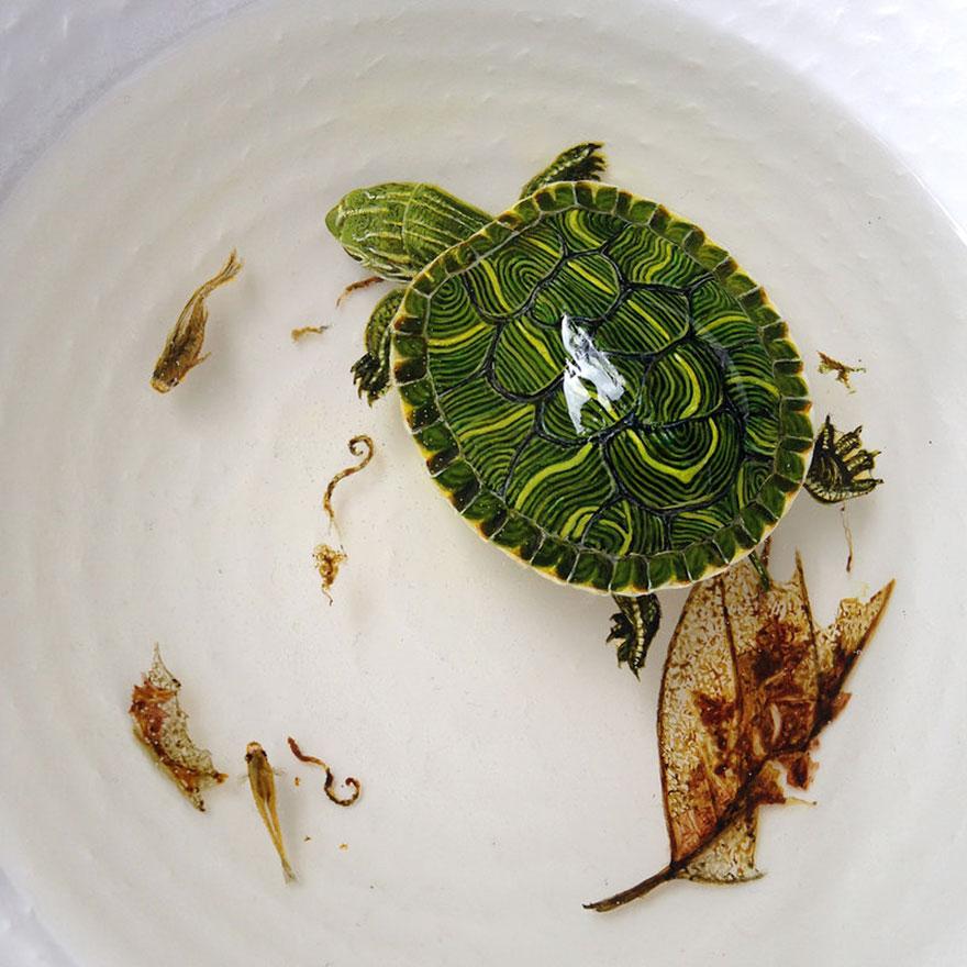 Картина черепахи в воде