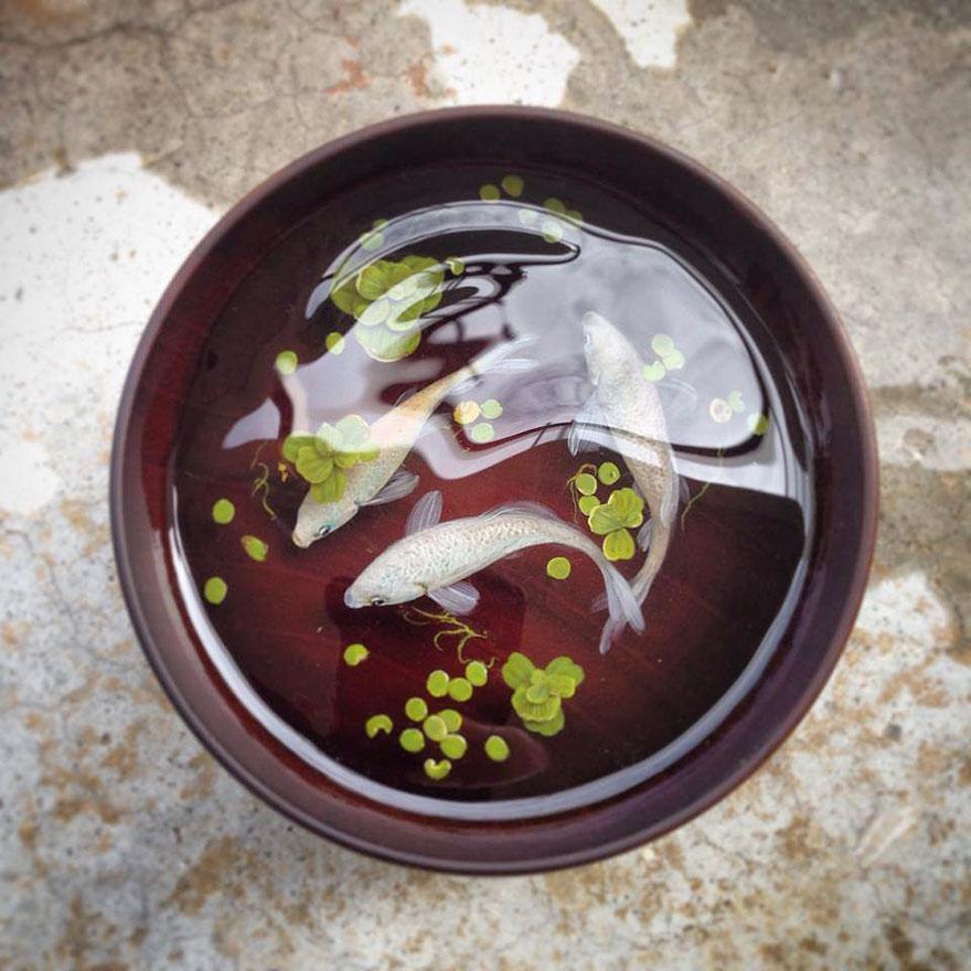 Картина блюдца с рыбками