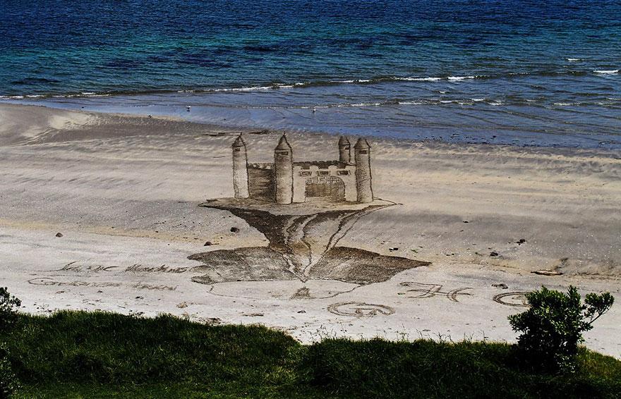 3D картины на песке от Джеми Харкинс с людьми в качестве элемента композиции