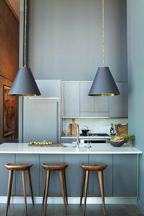 Треуголный светильник в дизайне кухни