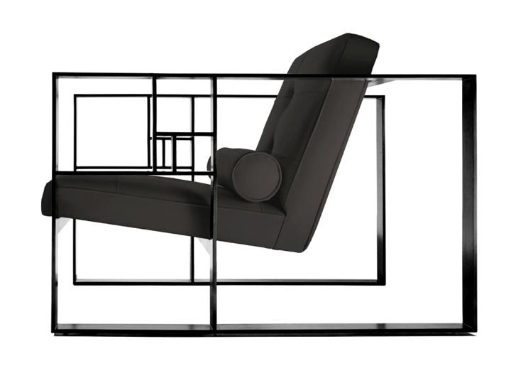 Черное кресло на стеклянной основе
