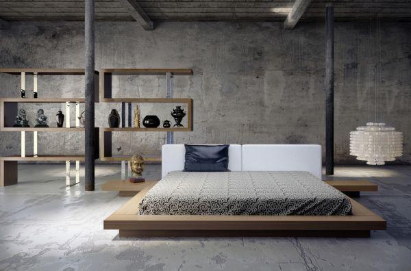 Низкий подиум двуспальной кровати