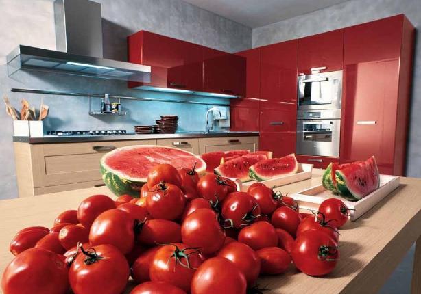 Разноцветная кухонная мебель