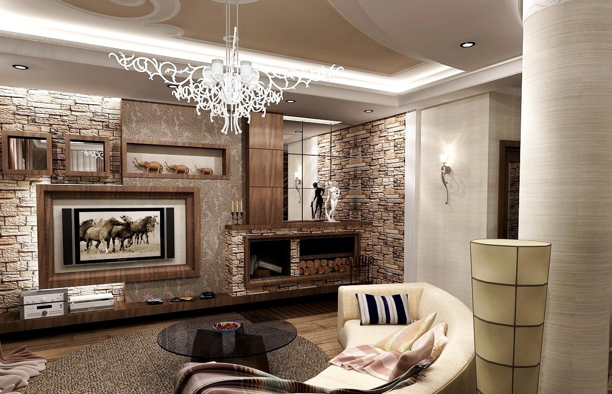 Стильное оформление стен интерьера декоративным камнем