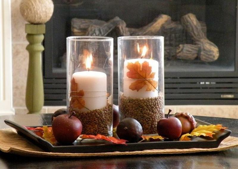 Красивый осенний декор свечей