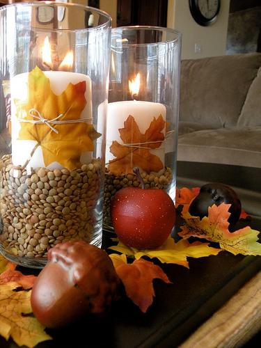 Замечательный осенний декор свечей