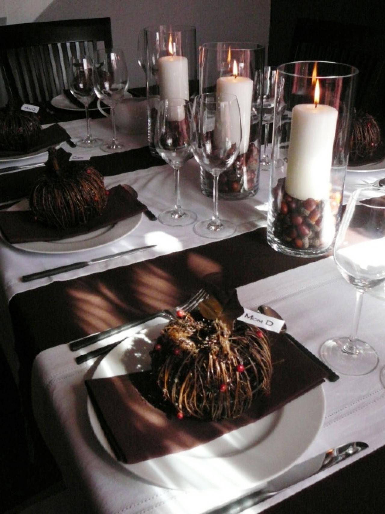 Роскошный осенний декор в оформление праздничного стола