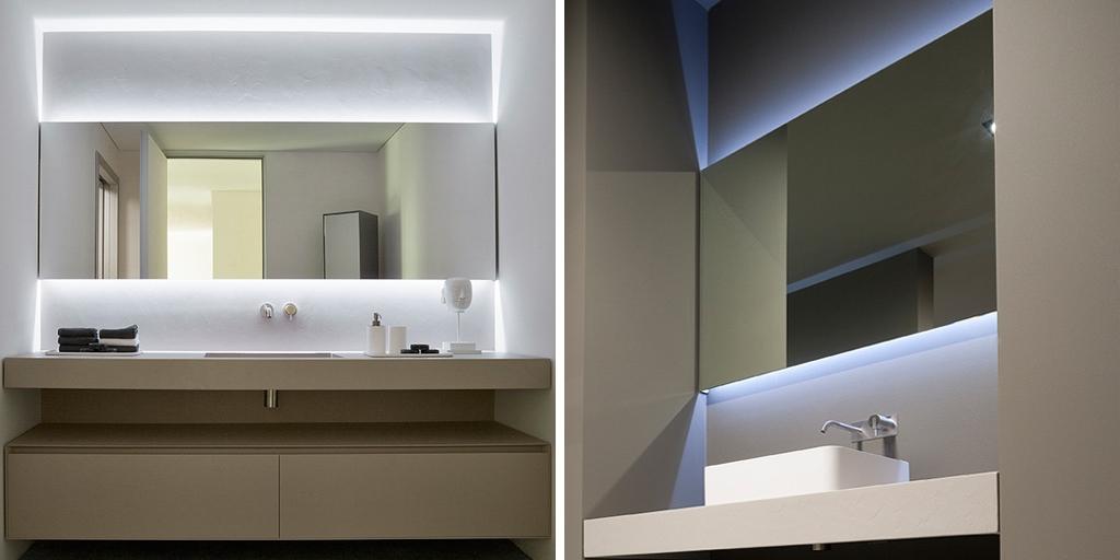 Уникальная подсветка зеркала в ванной комнате