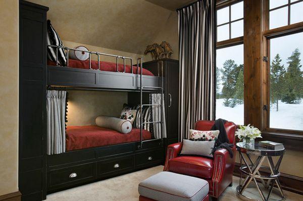 Черная двухъярусная кровать