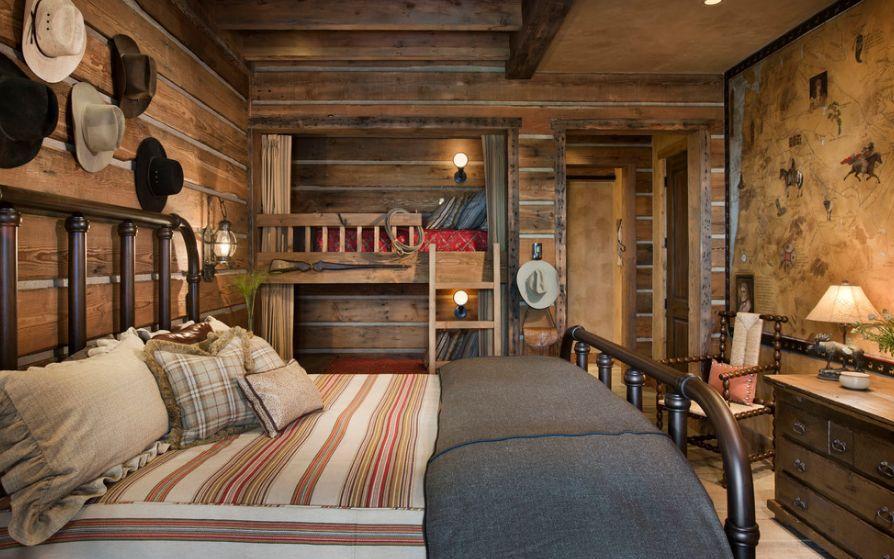 Встроенная двухъярусная кровать из дерева