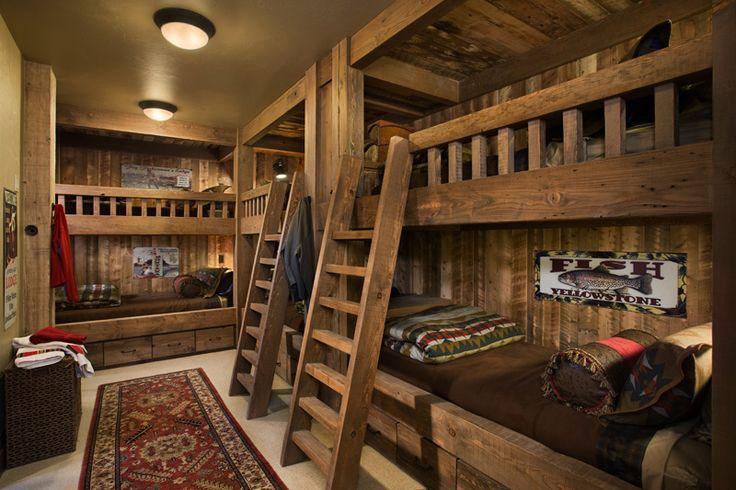 Деревенский стиль двухъярусной кровати