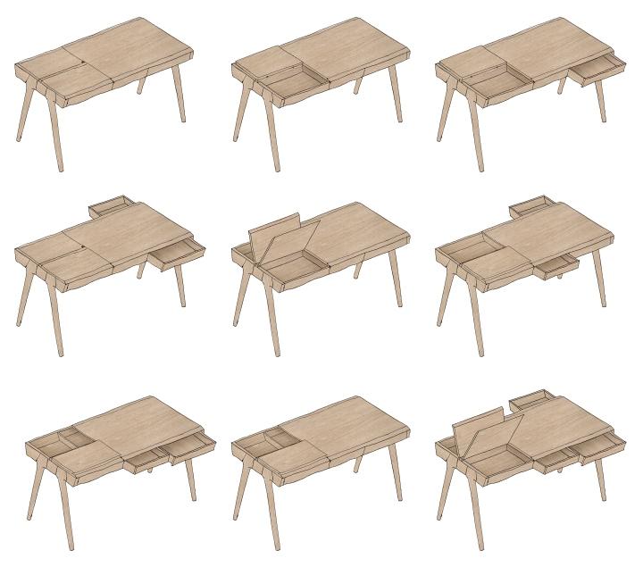 Схема положений стола