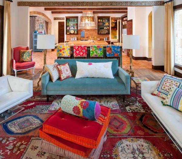 Интерьер гостиной в богемном стиле