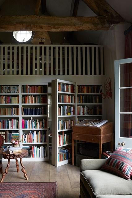 Стеллажи и дверь с книгами