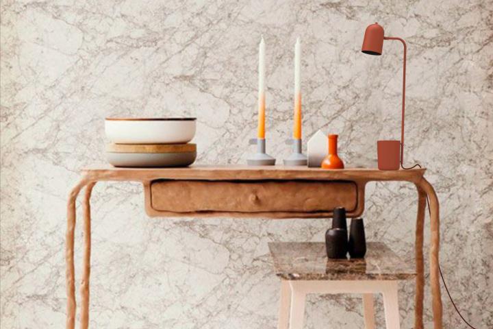 Оригинальный дизайн настольной лампы Buddy медного цвета на рабочем столе