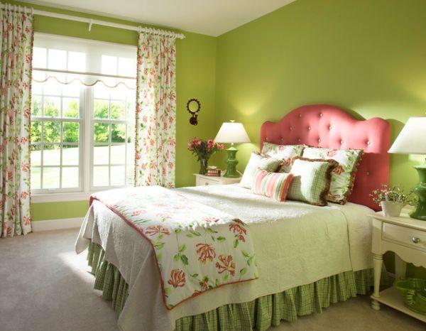 Салатовый цвет стен в спальне