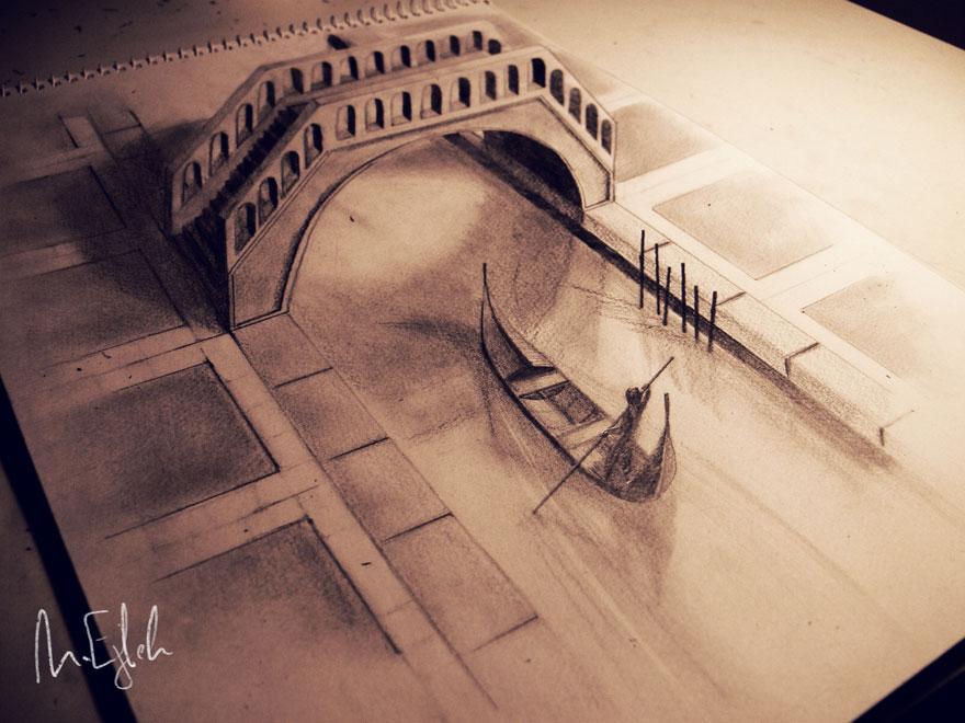 Рисунок залива и лодки