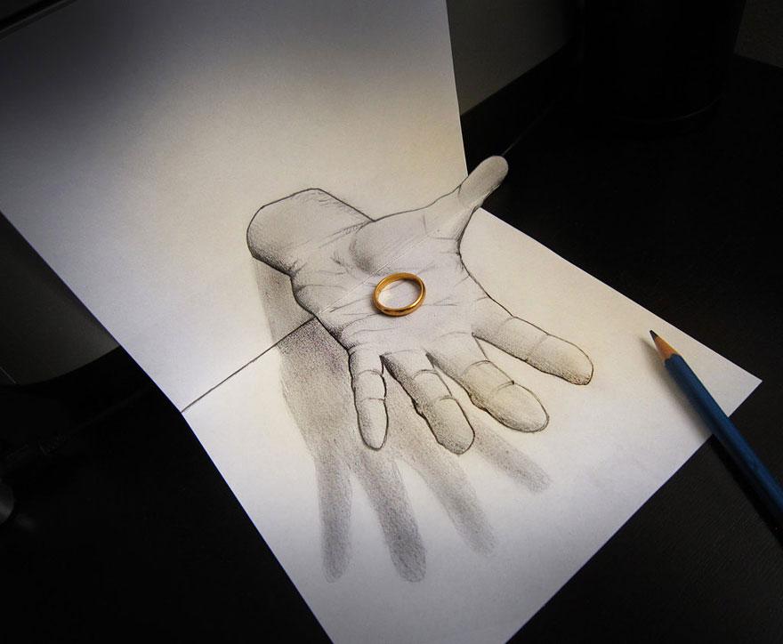Рисунок руки и кольца