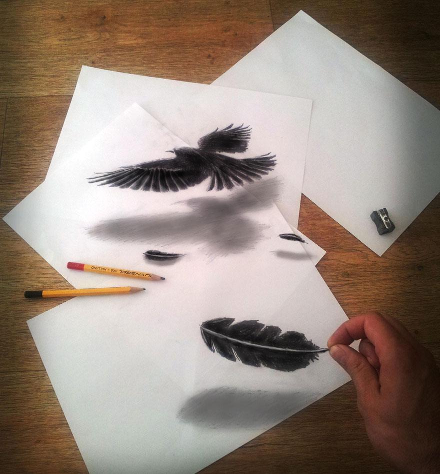 Рисунок птицы и пера