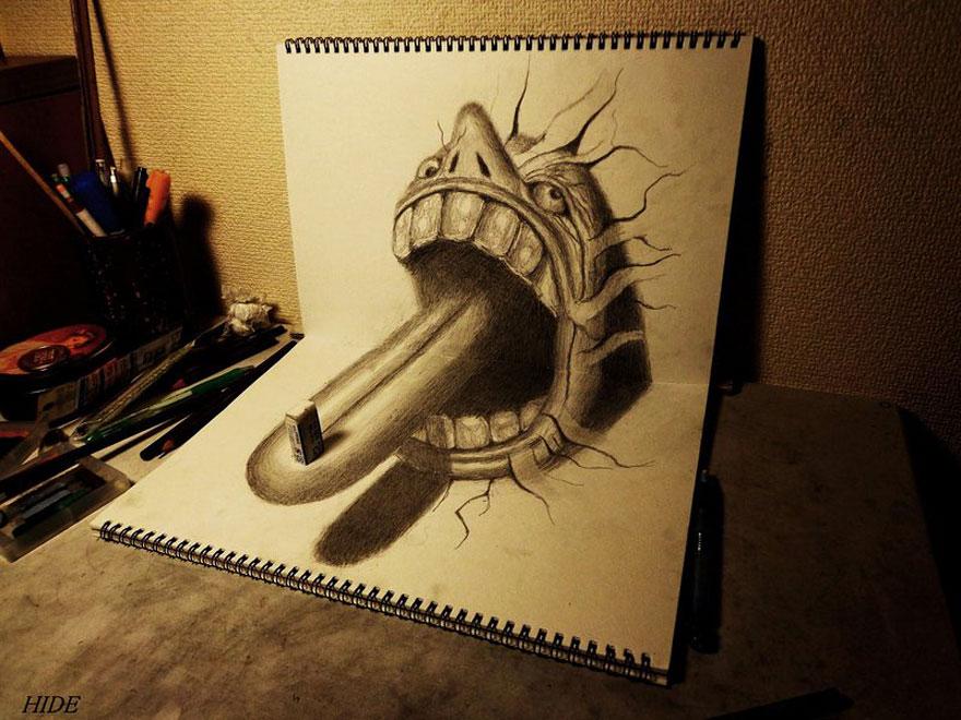 Рисунок чудовища с языком