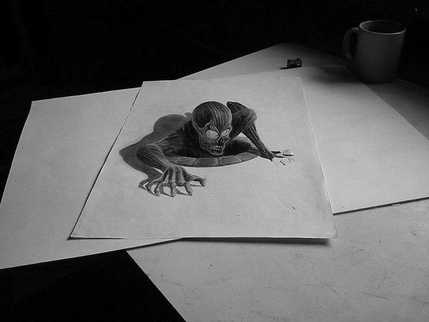 Рисунок выползающего чудовища