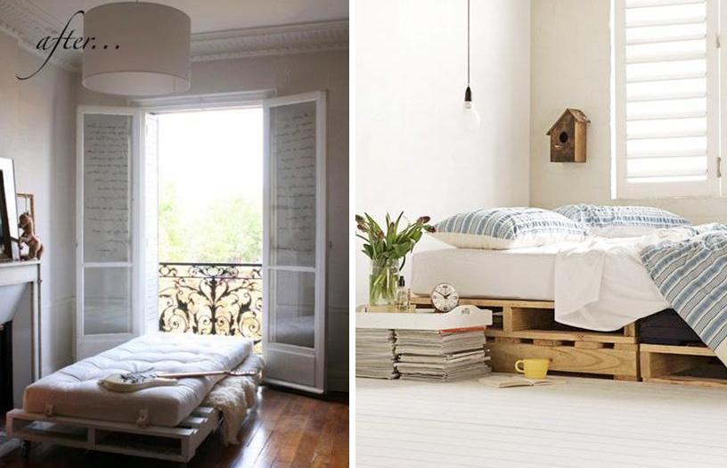 Самодельные кровати, изготовленные из деревянных поддонов