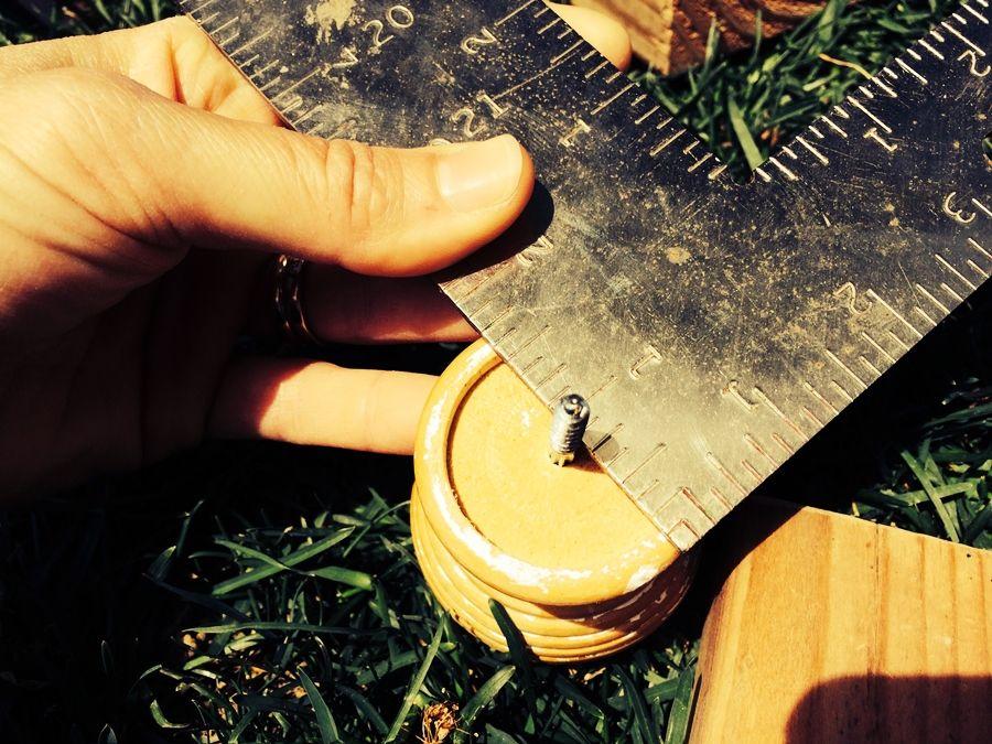 Измерение радиуса деревянного наконечника
