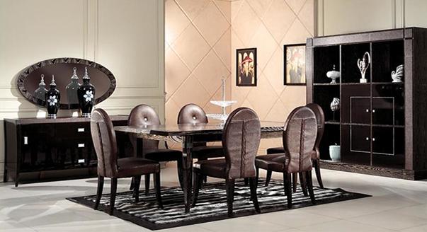 Стол в окружении стульчиков в стиле арт-деко