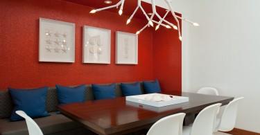 Красный цвет как залог выразительности декора столовой