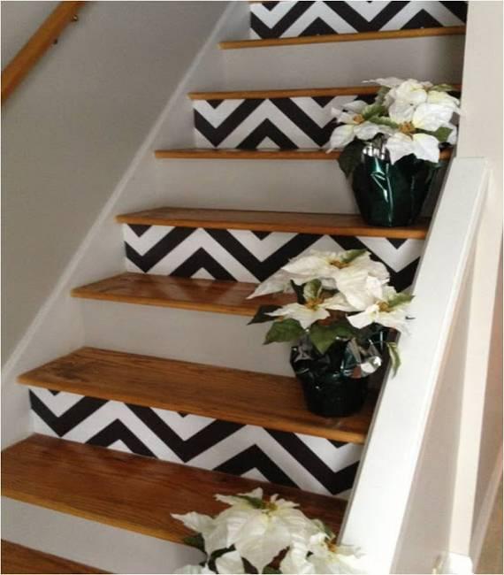 Геометрические зигзаги на ступеньках лестницы