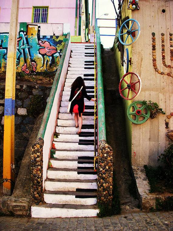 Бетонная лестница в виде музыкальных клавиш