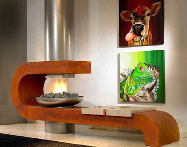 Креативный дизайн камина в гостиной