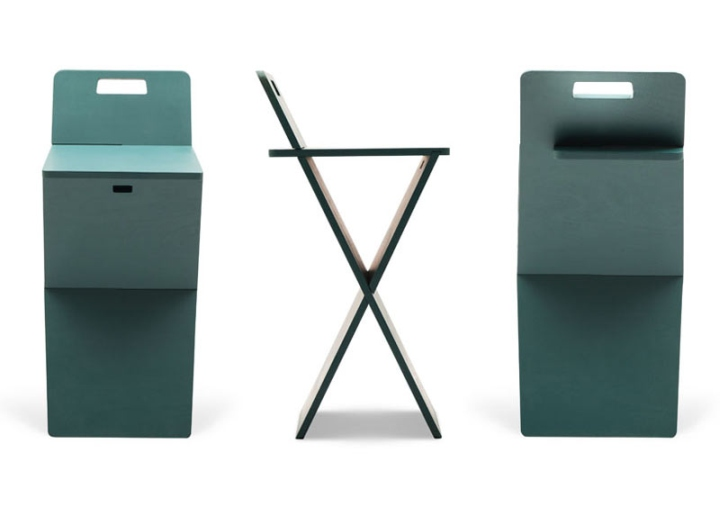 Темно-зеленые барные стулья CHEFT от Studio Pousti