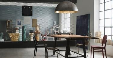 Латунный подвесной светильник Galileo в интерьере столовой