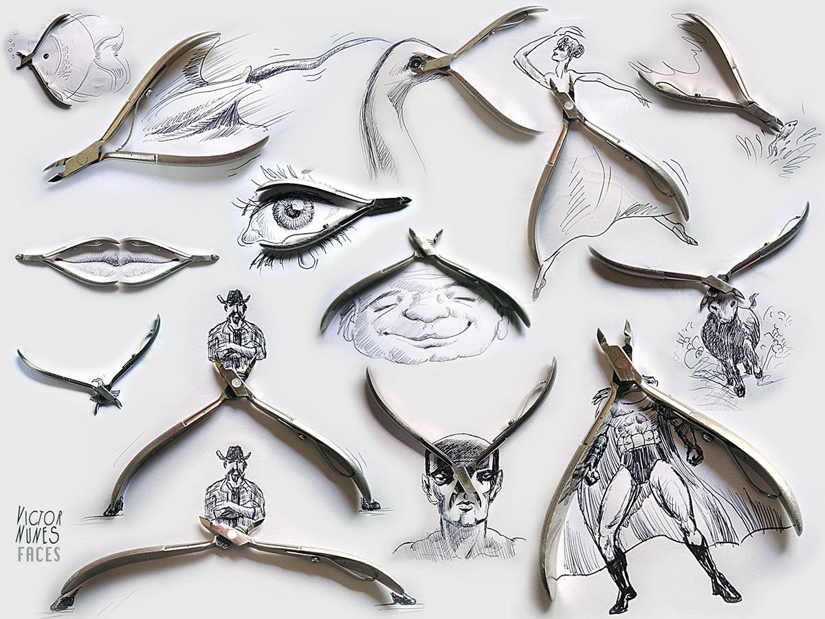 Педикюрные ножницы в качестве элемента трехмерного изображения
