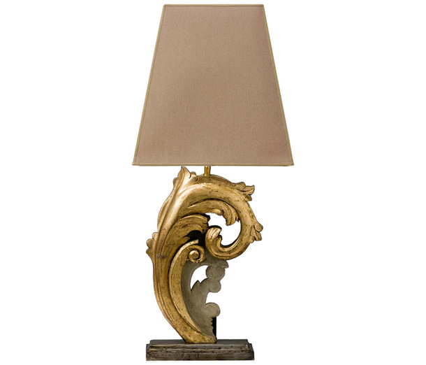 Металлическая настольная лампа с текстильным абажуром