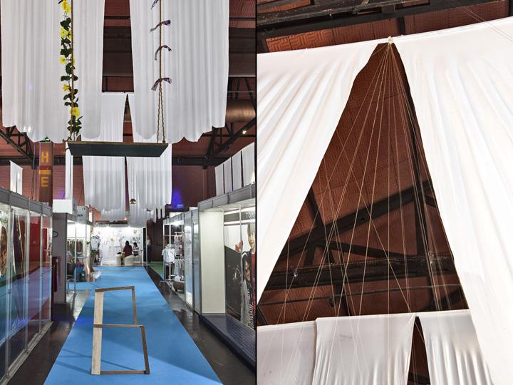 Белоснежная инсталляция в подвесной виде на выставке
