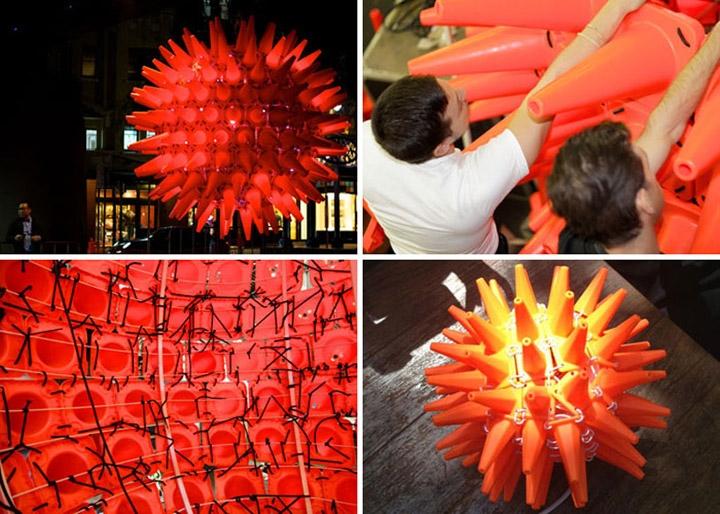 Конструкция из пластмассовых фишек