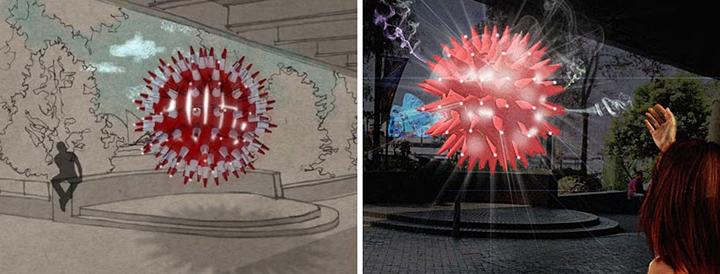 Креативная инсталляция из пластмассовых фишек