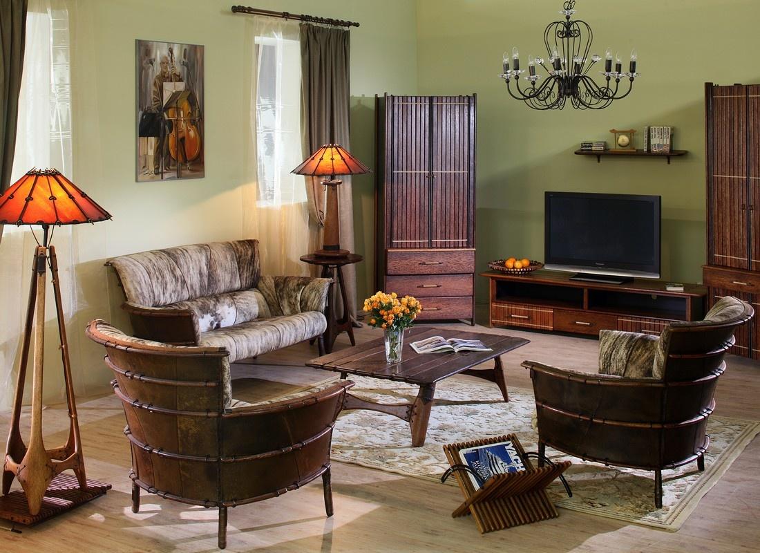 Оливковая гостиная в колониальном стиле